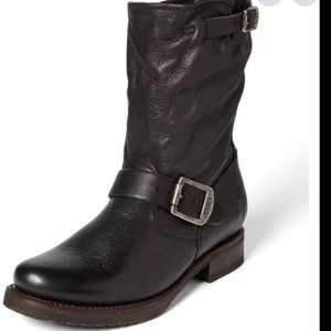Frye Veronica Short Slouchy Black Leather Boot